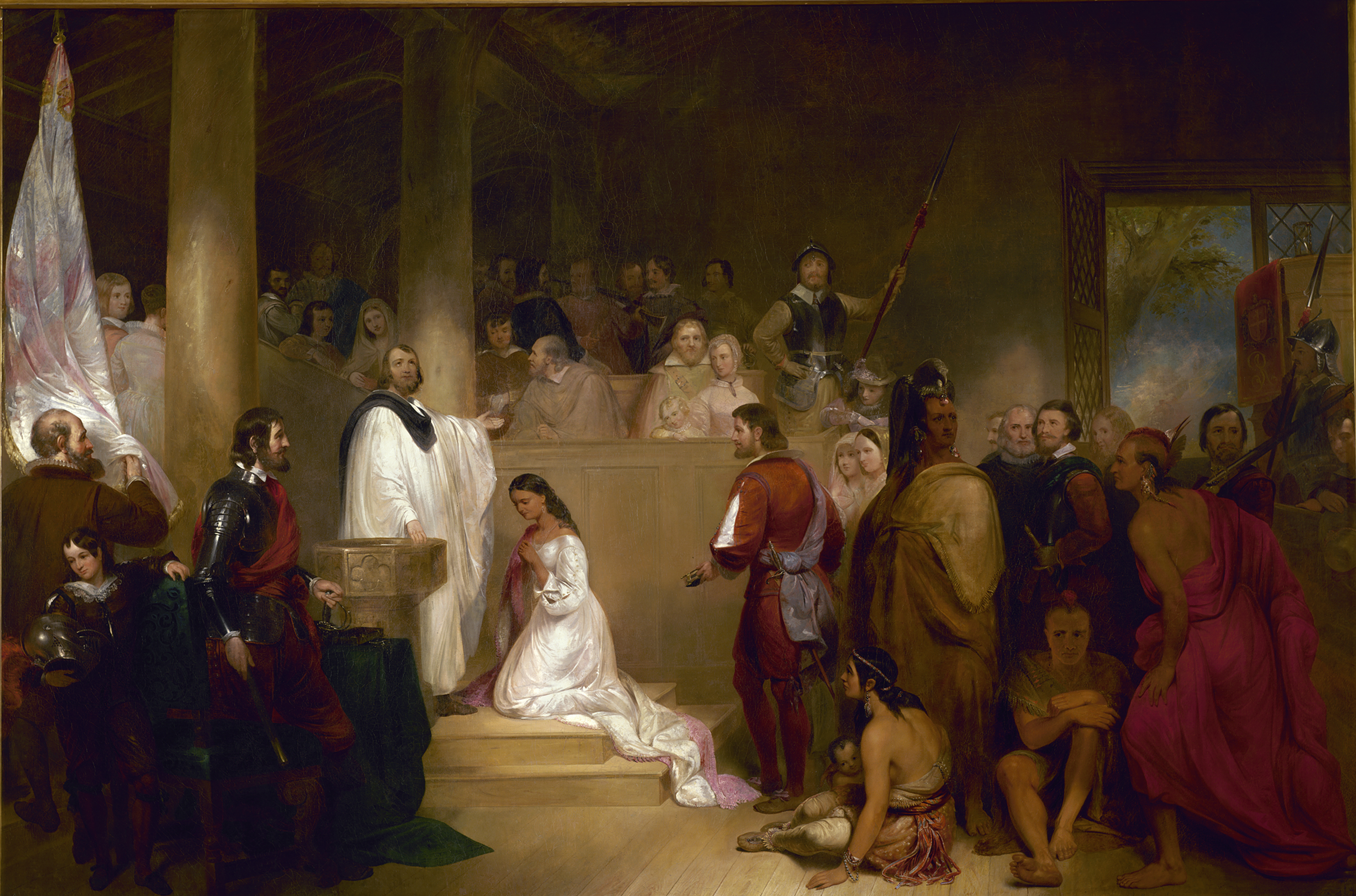 Chapman, John Gadsby. Baptism of Pocahontas. United States, Washington, D.C. Capitol rotunda, 1840. Oil on canvas.