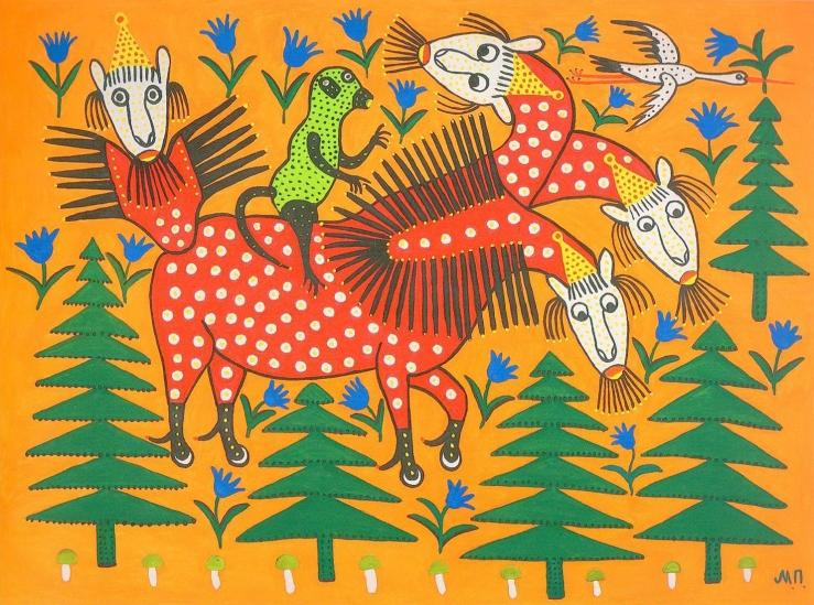 Primachenko, Maria. Мавпа їде на чотириголовому звірі. 1982. Fluorescent paint on paper..jpg