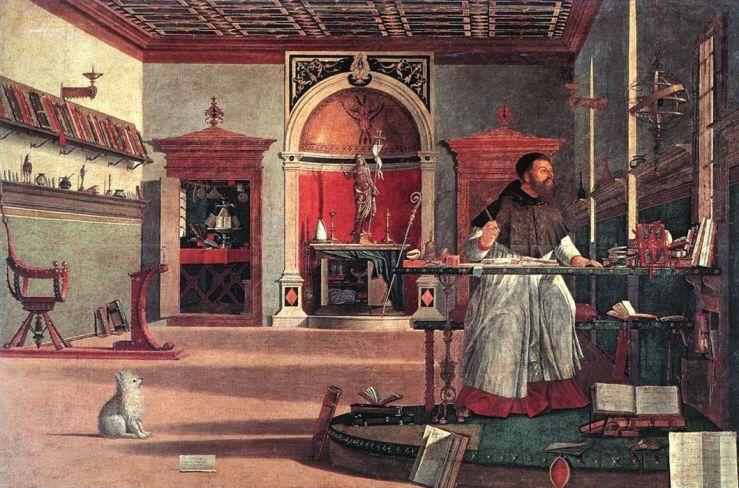 Carpaccio, Vittore. Vision of St Augustin. Venice. Scuola di San Giorgio degli Schiavoni, 1502. Tempera on canvas..jpg