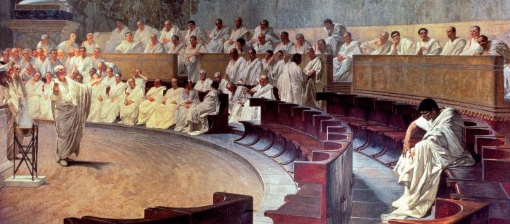 Maccari, Cesare. Cicero Denounces Catiline. Plazzo Madama, Rome. 1889. Fresco..jpg