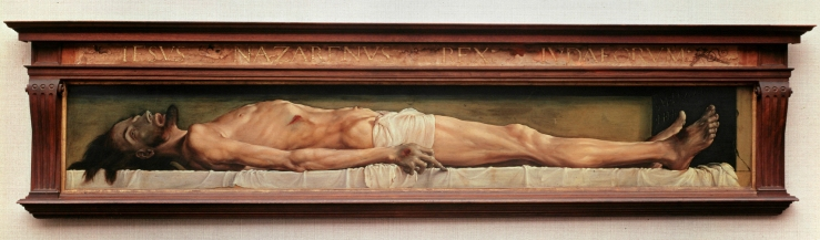 Holbein the Younger, Hans. The Body of the Dead Christ in the Tomb. Basel, Switzerland. Kunstmuseum, 1522. Oil and tempera on limewood..jpg
