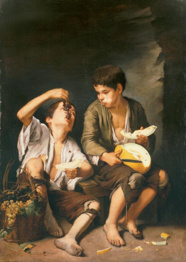 Murillo, Bartolomé Esteban. Boys Eating Grapes and Melon. Alte Pinakothek. 1646. Oil on canvas.