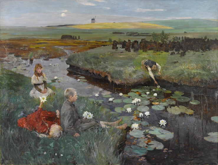 Dettmann, Ludwig. Near the water lilies in the marsh. 1897. Oil on canvas..jpg