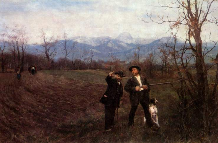 Sperl, Johann. Leibl and Sperl on the chick hunt. 1890. Oil on canvas.