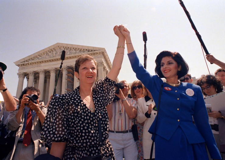 1989.4 Applewhite, J. Scott. Norma Mccorvey and Gloria Allred After Listening to Arguments in a Missouri Abortion Case. AP..jpg