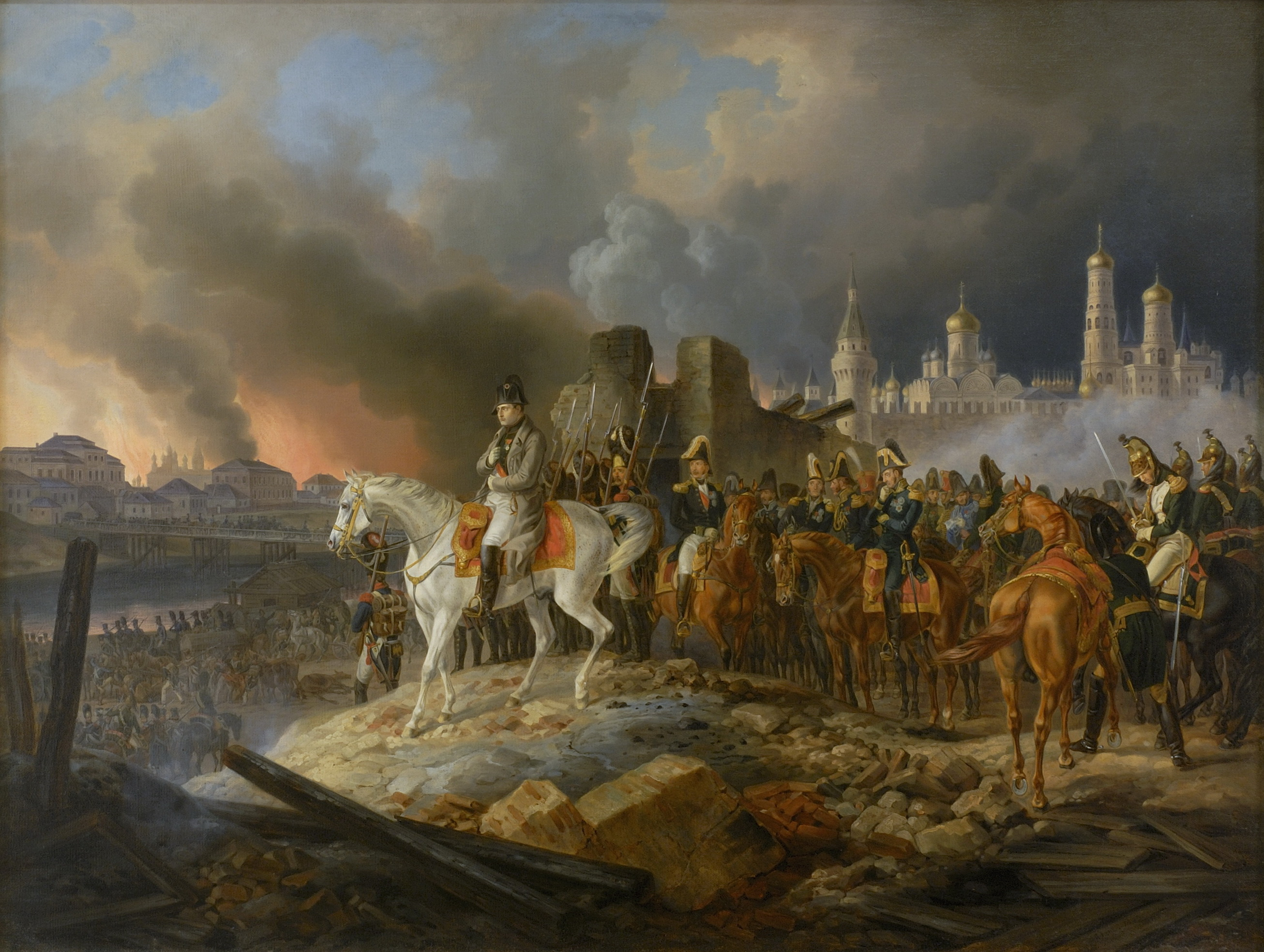 Albrecht, Adam. Napoleon in burning Moscow. 1841.